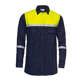 D-FORCE bjorko hemd met lange mouwen navy/fluo yellow